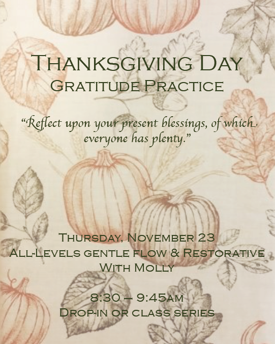 Thanksgiving Day Gratitude Class